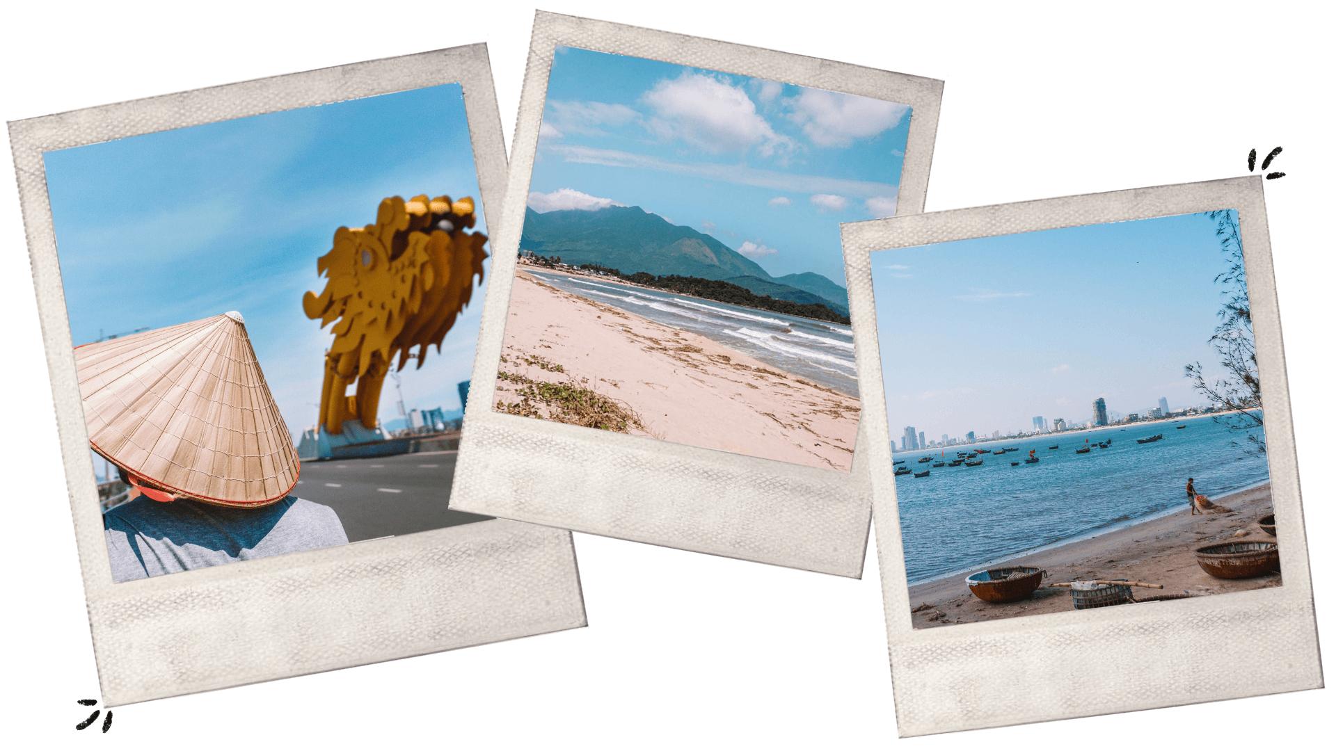 dragon bridge beach basket boats vietnam