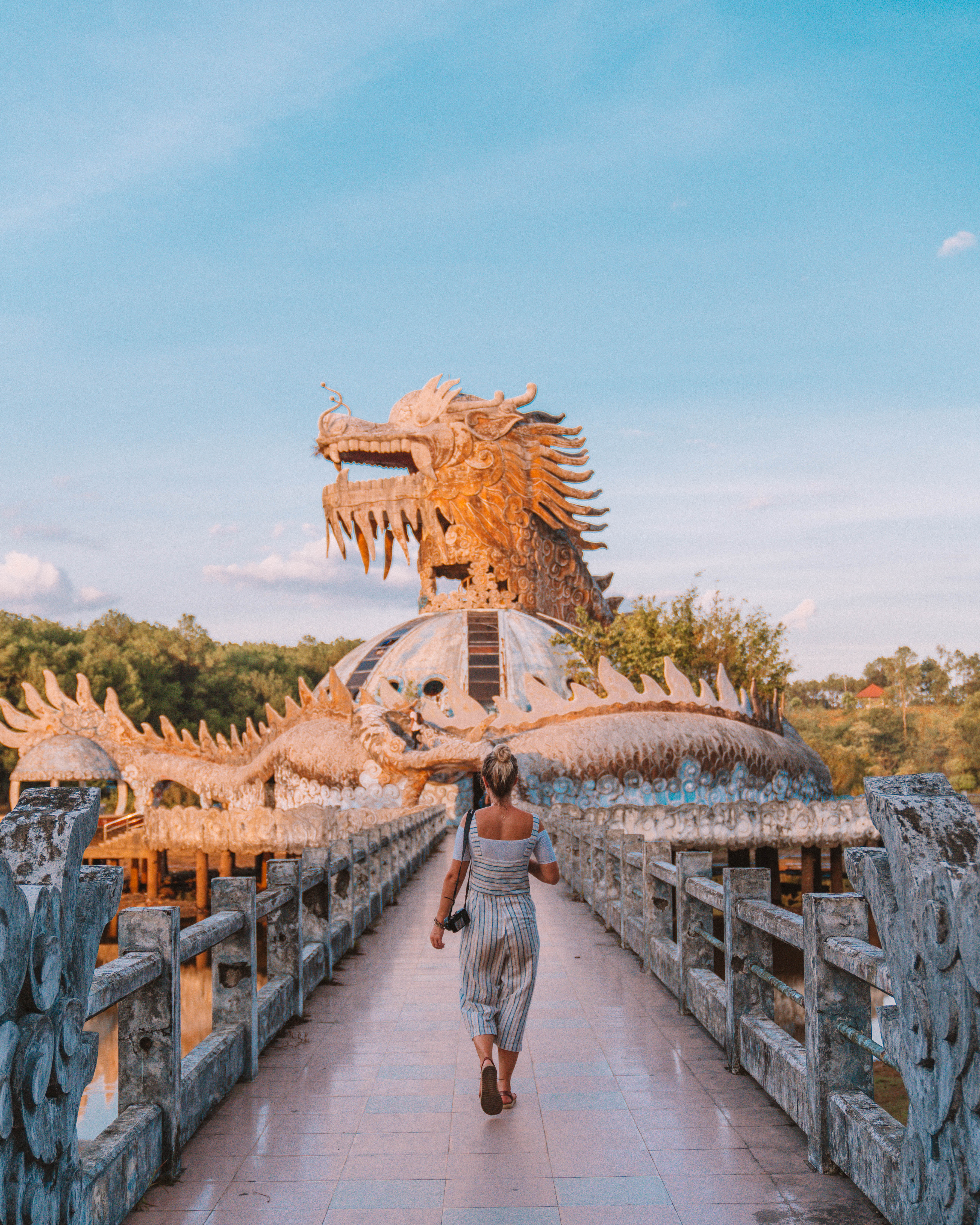 finding the Abandoned Waterpark in Hue dragon statue thuy tien lake Vietnam