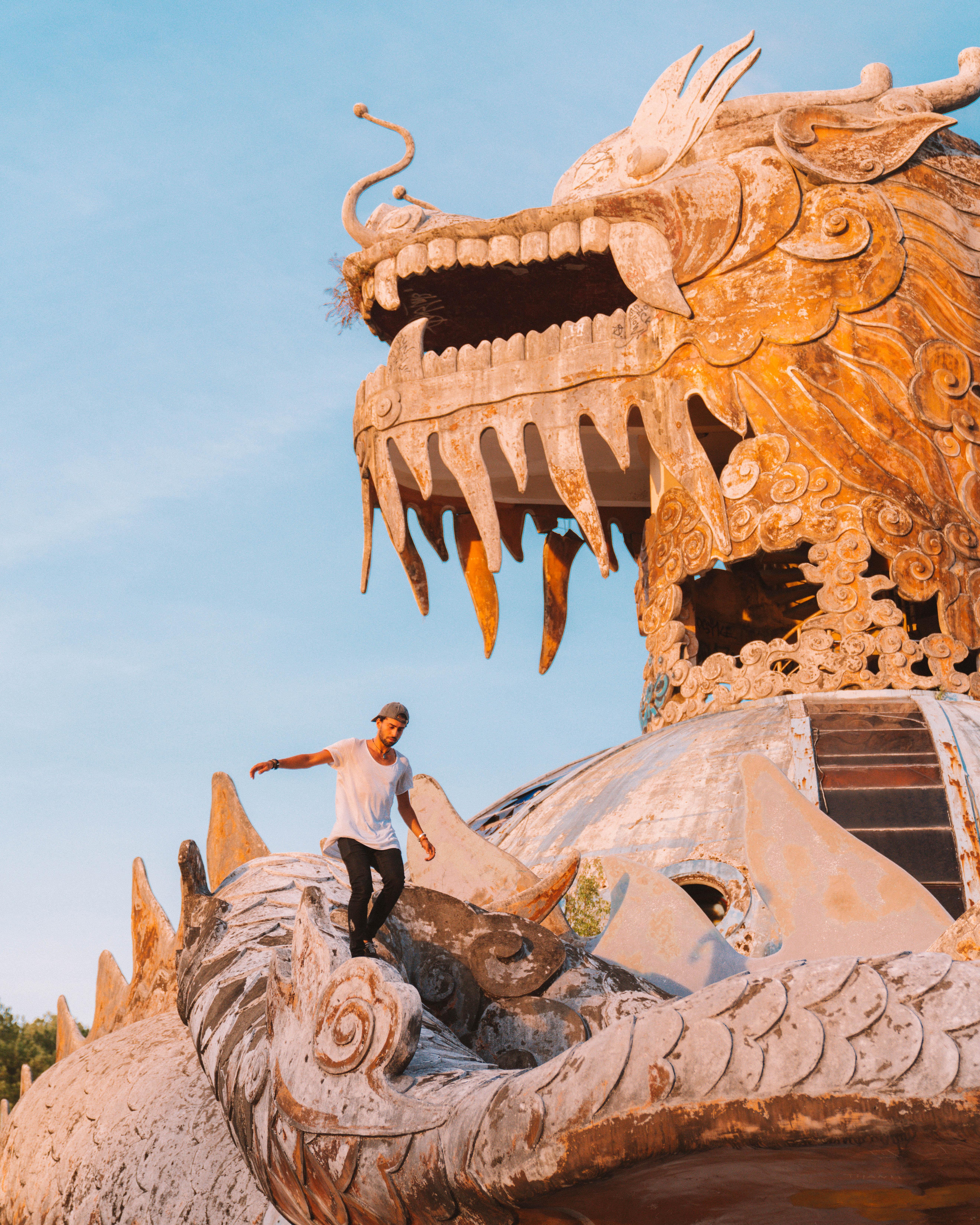 instagram spot Abandoned Waterpark in Hue dragon statue thuy tien lake Vietnam